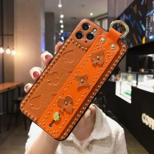 Luxury 3D Monogram Phone Case with Hand Strap Holder Phone Accessories Loom Rack Orange For iPhone X