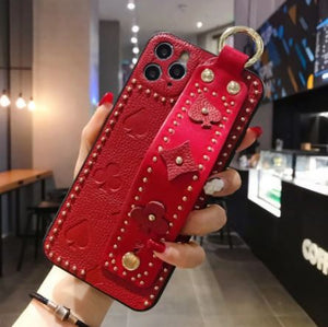 Luxury 3D Monogram Phone Case with Hand Strap Holder Phone Accessories Loom Rack Red For iPhone X