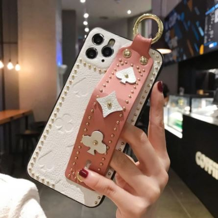 Luxury 3D Monogram Phone Case with Hand Strap Holder Phone Accessories Loom Rack White pink For iPhone X