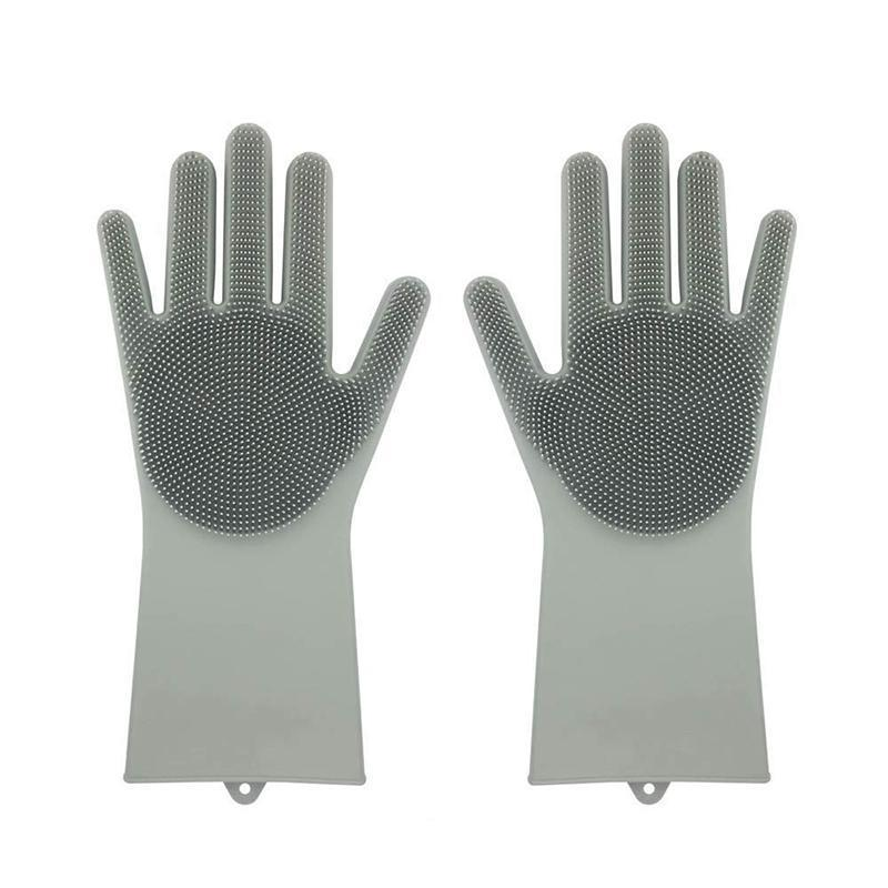 Magic Silicone Dish Washing Gloves Kitchen Loom Rack Gray A Piece-Right
