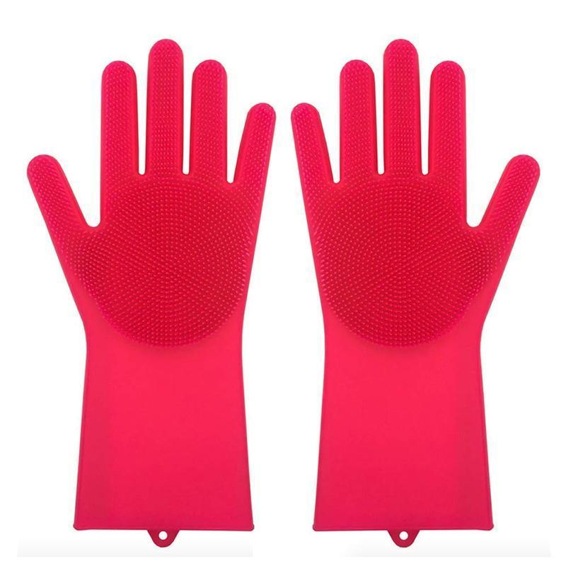 Magic Silicone Dish Washing Gloves Kitchen Loom Rack Red A Piece-Right