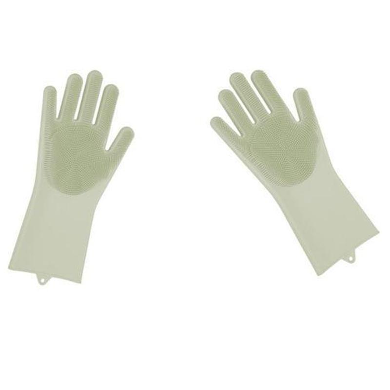 Magic Silicone Dish Washing Gloves Kitchen Loom Rack White A Piece-Right