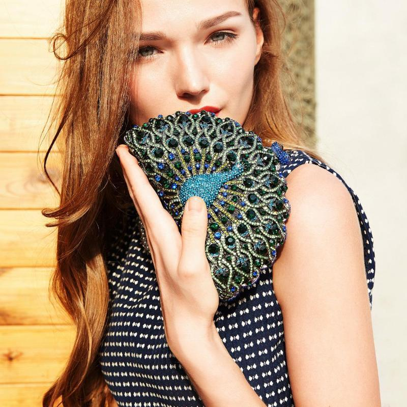 Magnificent Peacock Evening Clutch Bag Evening Bags Loom Rack