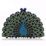 Magnificent Peacock Evening Clutch Bag Evening Bags Loom Rack Green