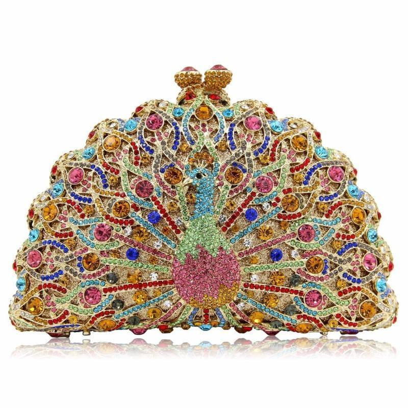 Magnificent Peacock Evening Clutch Bag Evening Bags Loom Rack Multi Gold