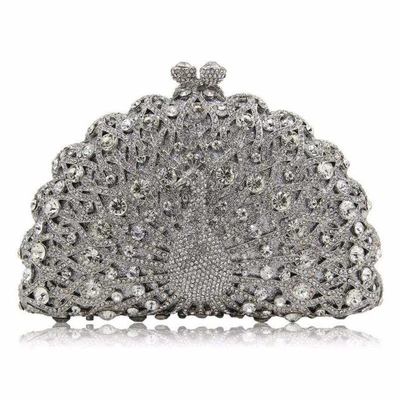 Magnificent Peacock Evening Clutch Bag Evening Bags Loom Rack Silver