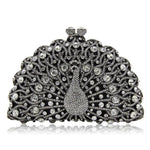 Magnificent Peacock Evening Clutch Bag Evening Bags Loom Rack White Black