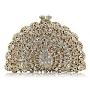 Magnificent Peacock Evening Clutch Bag Evening Bags Loom Rack White Gold