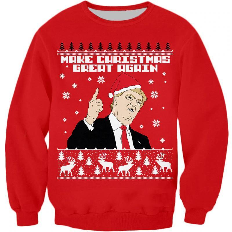 Make Christmas Great Again Trump Ugly Sweater Christmas Ugly Sweaters Loom Rack Christmas Hip Hop - Red S