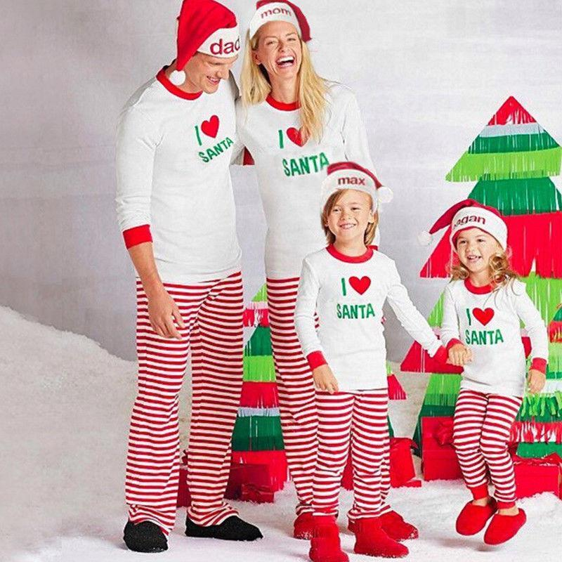 Matching Family Christmas Pajamas - Santa Love Set for Families, Kids or Couples Matching Outfits Loom Rack Red/White Stripe Dad S