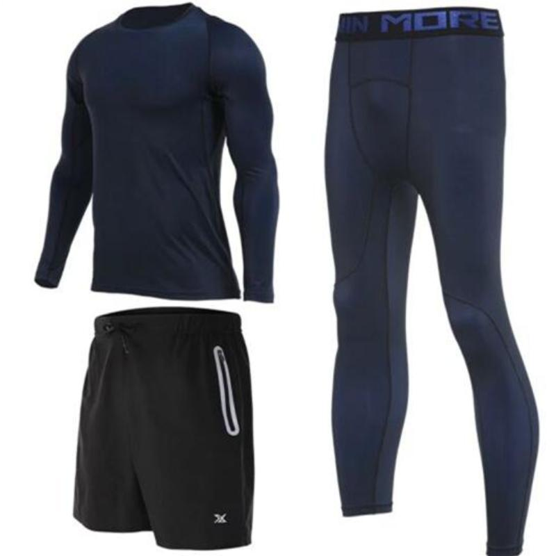 Men's Compression Full Sets Running Sets Loom Rack 3-Piece Blue Long Sleeve Set M