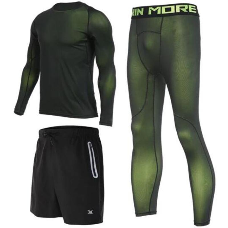 Men's Compression Full Sets Running Sets Loom Rack 3-Piece Green Long Sleeve Set M