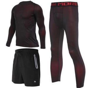 Men's Compression Full Sets Running Sets Loom Rack 3-Piece Red Long Sleeve Set M