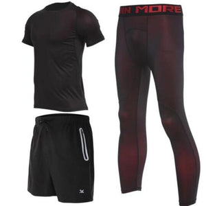 Men's Compression Full Sets Running Sets Loom Rack 3-Piece Red Short Sleeve Set M