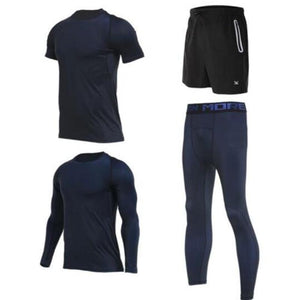 Men's Compression Full Sets Running Sets Loom Rack 4-Piece Blue Set M