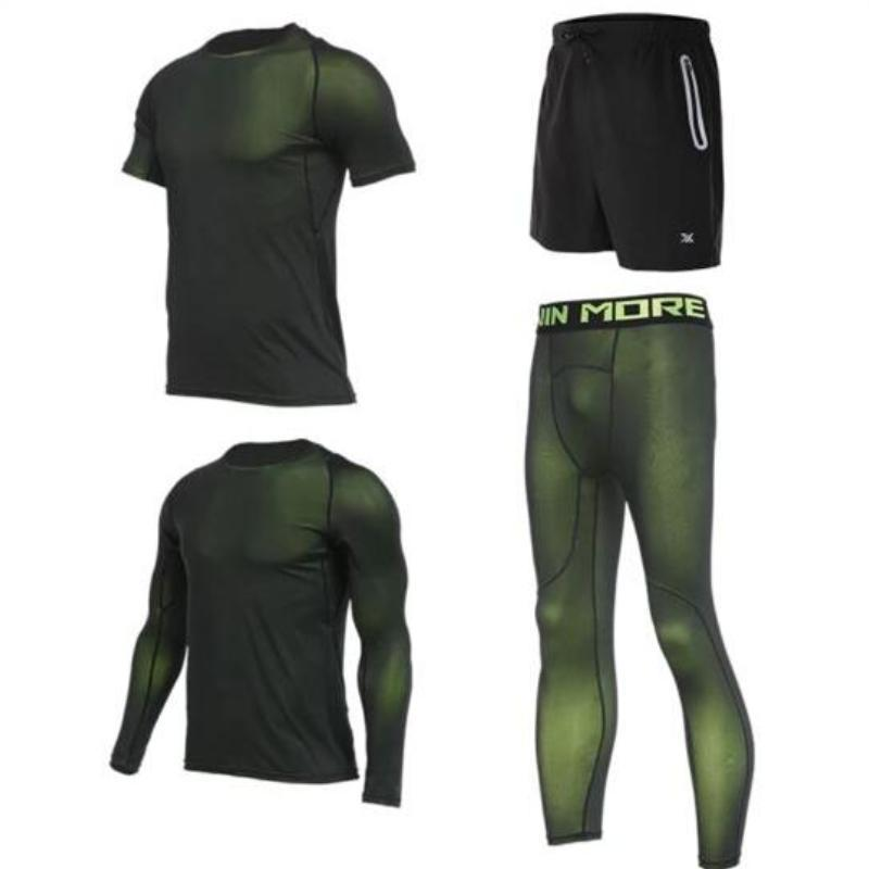 Men's Compression Full Sets Running Sets Loom Rack 4-Piece Green Set M