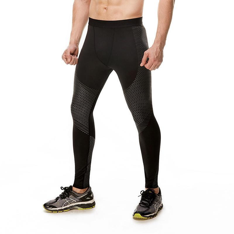 Men's Optical Design Reflective Compression Leggings Running Tights Loom Rack