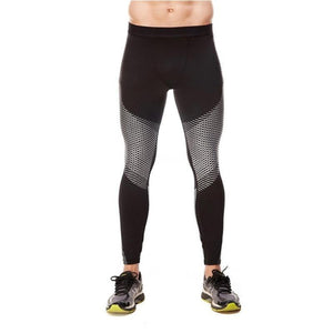 Men's Optical Design Reflective Compression Leggings Running Tights Loom Rack White S