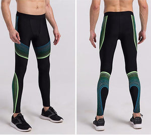 Men's Spiral Compression Reflective Leggings Leggings Loom Rack Green S