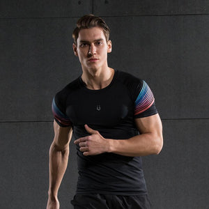 Men's Spiral Reflective Short Sleeve Compression Top Sports T-Shirts Loom Rack 72601 S