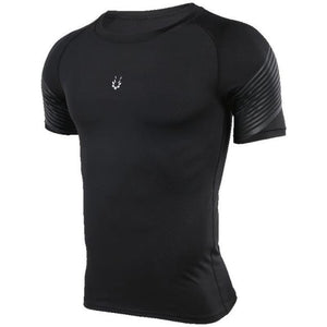 Men's Spiral Reflective Short Sleeve Compression Top Sports T-Shirts Loom Rack 72603 S