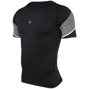 Men's Spiral Reflective Short Sleeve Compression Top Sports T-Shirts Loom Rack 72604 S