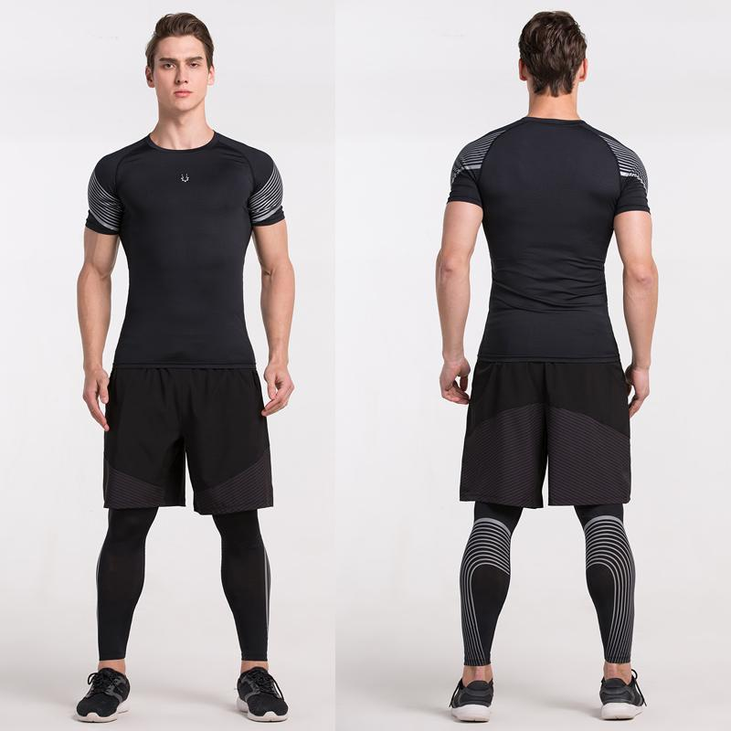 Men's Spiral Reflective Short Sleeve Compression Top Sports T-Shirts Loom Rack