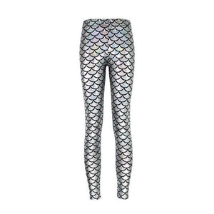 Mermaid Leggings - Becca Fish Scale Leggings Loom Rack Silver white S