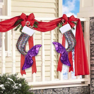 Mermaid Sequin Christmas Stocking Christmas Accessories Loom Rack