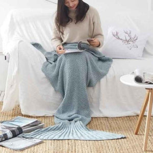 Mermaid Tail Blanket - Crochet - Adult / Kids / Baby Blankets Loom Rack Blue Grey Baby 50x80CM