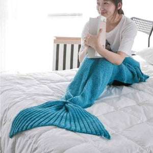 Mermaid Tail Blanket - Crochet - Adult / Kids / Baby Blankets Loom Rack Lake Blue Baby 50x80CM