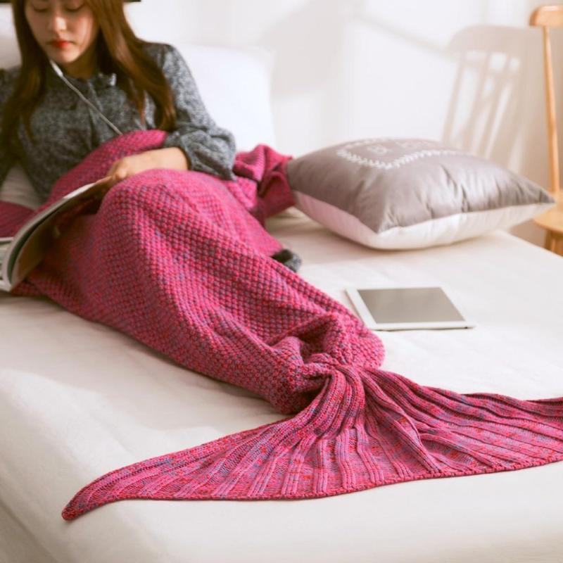 Mermaid Tail Blanket - Crochet - Adult / Kids / Baby Blankets Loom Rack Rose Red Baby 50x80CM