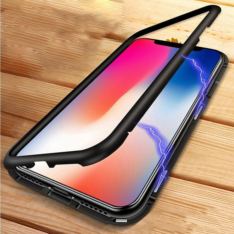 Metal Frame + Tempered Glass Magnetic Phone Case Fitted Cases Loom Rack