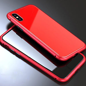 Metal Frame + Tempered Glass Magnetic Phone Case Fitted Cases Loom Rack Full Red for iphone X