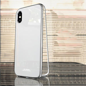 Metal Frame + Tempered Glass Magnetic Phone Case Fitted Cases Loom Rack Full Silver for iphone X