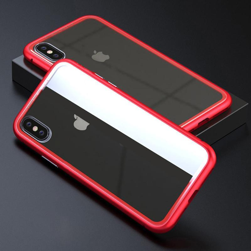 Metal Frame + Tempered Glass Magnetic Phone Case Fitted Cases Loom Rack Red Clear for iphone X