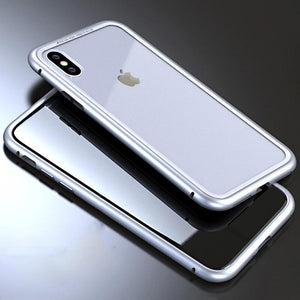 Metal Frame + Tempered Glass Magnetic Phone Case Fitted Cases Loom Rack Silver Clear for iphone X
