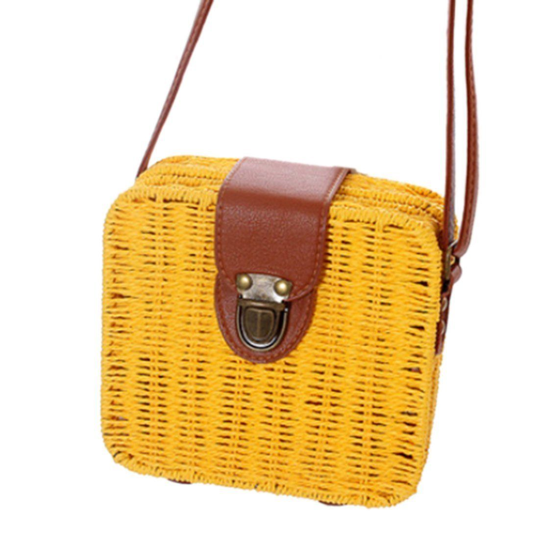 Mini Straw Messenger Bag Rattan Bags Loom Rack Yellow
