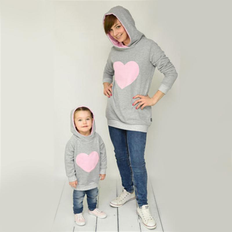 Mother/Daughter Matching Heart Hoodies Matching Outfits Loom Rack Light Pink S