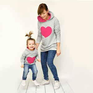 Mother/Daughter Matching Heart Hoodies Matching Outfits Loom Rack Rose Pink S