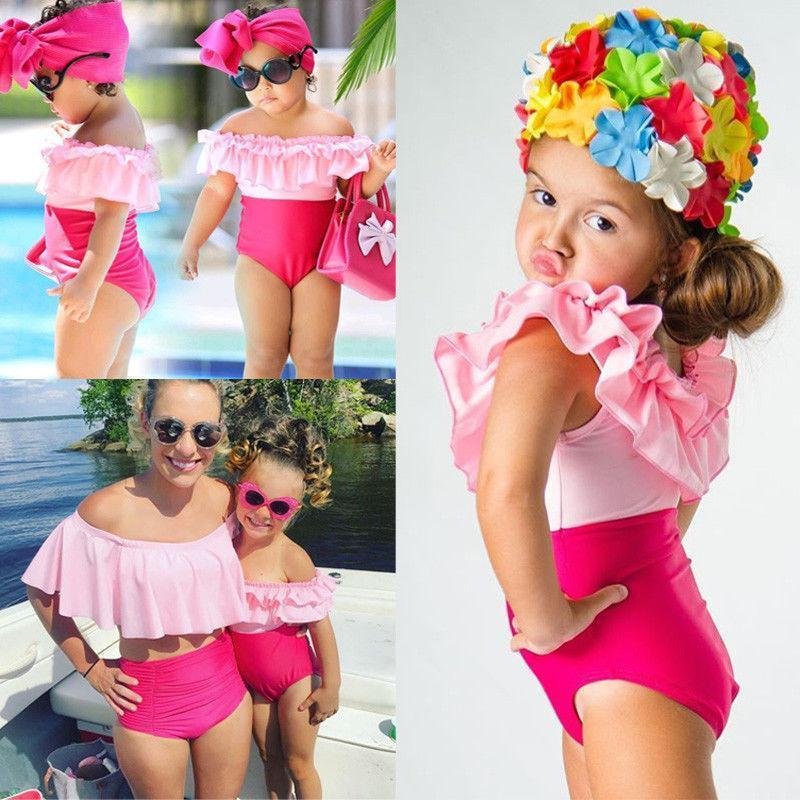 Mother/Daughter Matching Pretty in Pink Ruffle Swimsuits Swimsuits 2019 Loom Rack 3T
