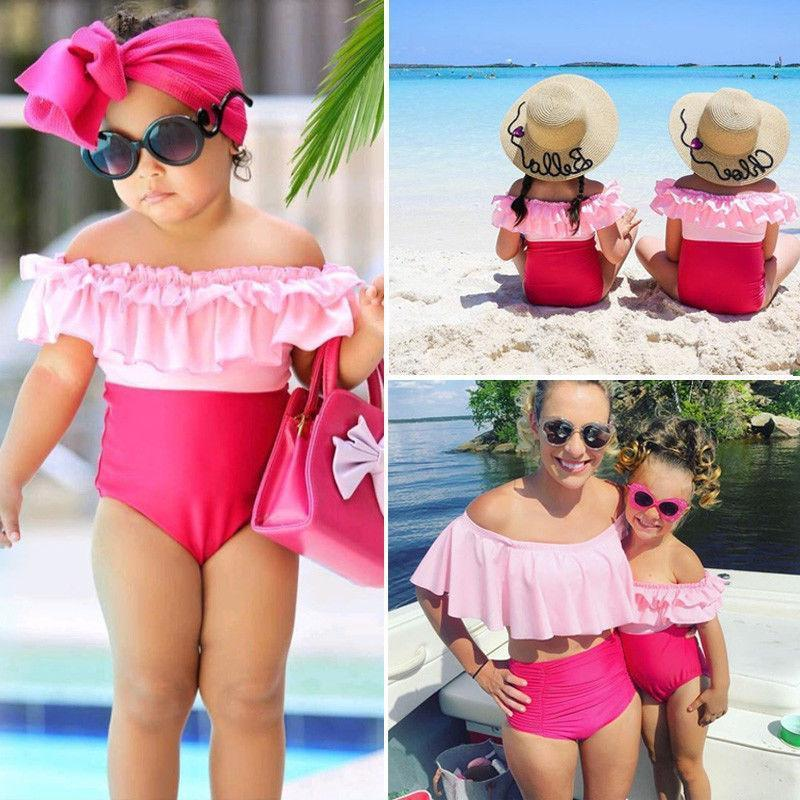 Mother/Daughter Matching Pretty in Pink Ruffle Swimsuits Swimsuits 2019 Loom Rack S