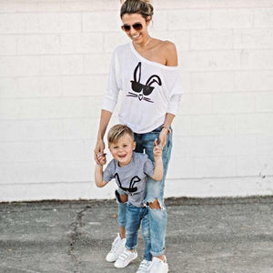 Mother/Toddler Matching Cool Bunny Tees Matching Outfits Loom Rack