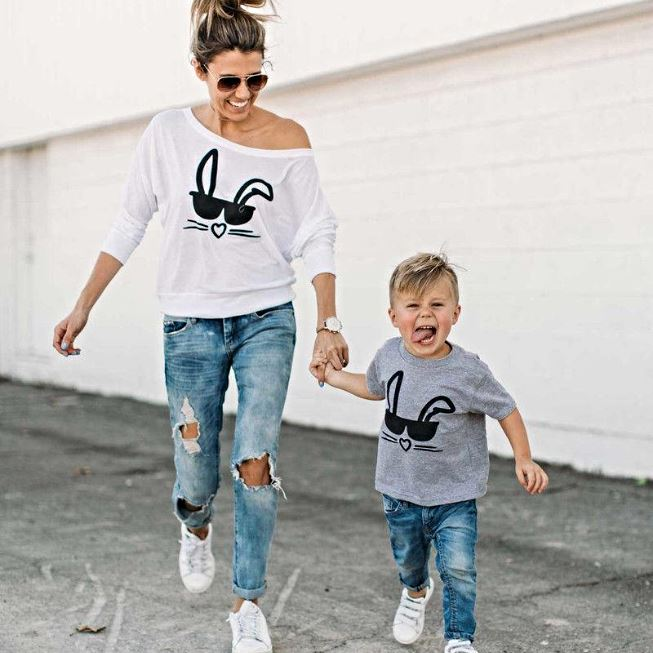 Mother/Toddler Matching Cool Bunny Tees Matching Outfits Loom Rack S