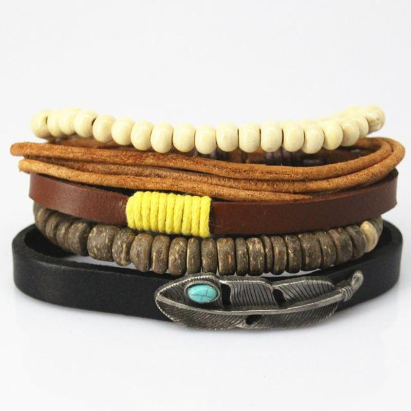 Multilayer Leather Bracelet for Men and Women Bracelets Loom Rack Bracelet Style - 15