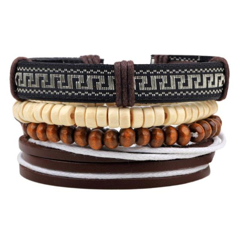 Multilayer Leather Bracelet for Men and Women Bracelets Loom Rack Bracelet Style - 18
