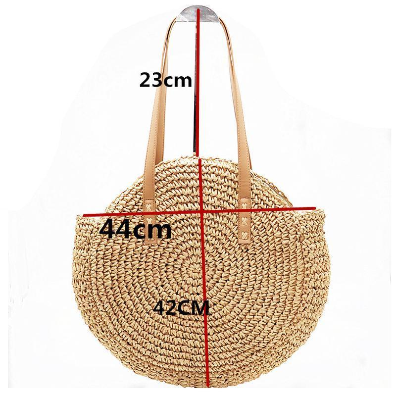 Natural Hand-Woven Straw Tote Bag Rattan Bags Loom Rack