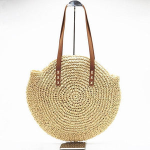 Natural Hand-Woven Straw Tote Bag Rattan Bags Loom Rack Beige
