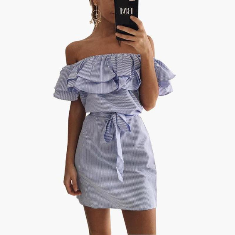 Off Shoulder Ruffle Pin Stripe Dress Dresses Loom Rack Blue XS