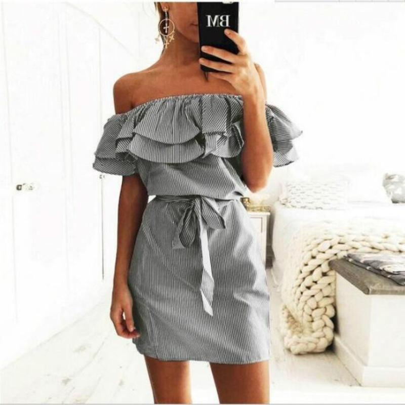 Off Shoulder Ruffle Pin Stripe Dress Dresses Loom Rack Gray XS